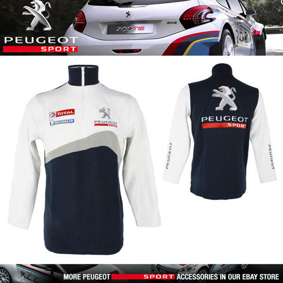 NEW! PEUGEOT SPORT RALLY MENS ZIP SWEATSHIRT with EMBROIDERED LOGOS WHITE/NAVY Thumbnail 1