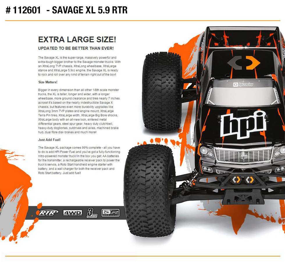 112601 hpi racing savage xl 5 9 rtr nitro engine truck radio ebay