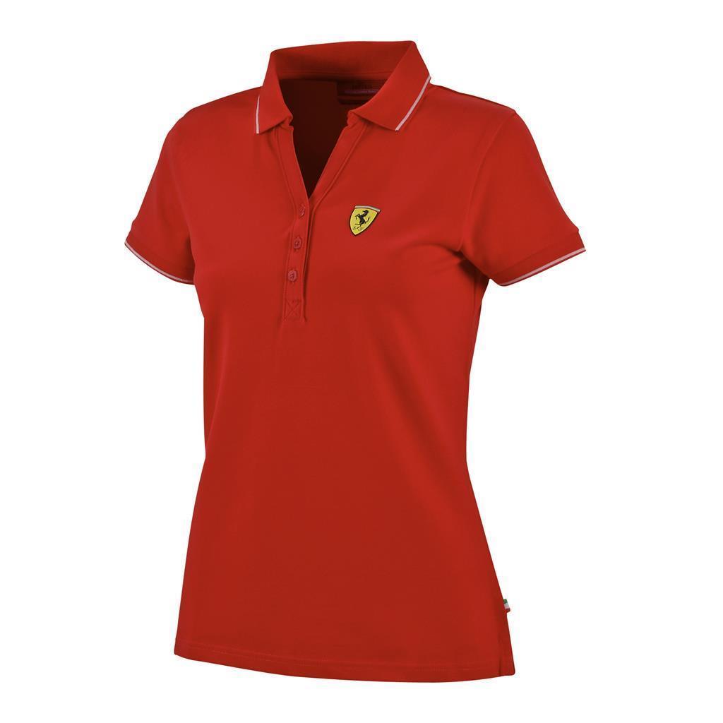 Ferrari womens ladies classic pique polo shirt cotton in for Ladies pique polo shirts