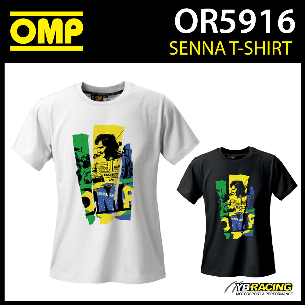 New! OR5916 OMP Ayrton Senna Classic T-Shirt Cotton Fabric Adult Sizes XS-XXXL