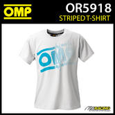 New! OR5918 OMP Striped Logo T-Shirt White Cotton Fabric Adult Sizes XS-XXXL