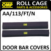 AA/113/FT/N OMP ROLL CAGE DOOR BAR COVERS 50cm BLACK VELOUR + VELCRO CLOSING!
