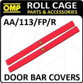 AA/113/FP/R OMP ROLL CAGE DOOR BAR COVERS 100cm RED VELOUR + VELCRO CLOSING!