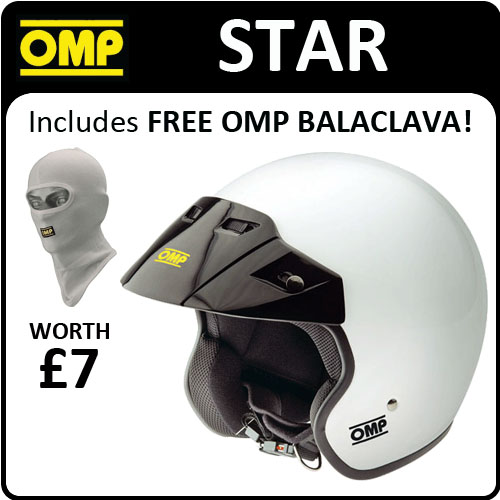 SC607 OMP 'STAR' OPEN FACE HELMET L 59-61cm WHITE BIKES KARTING TRACK DAY