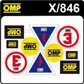 X/846 OMP MOTORSPORT ASSORTED STICKER SHEET (10 DECALS)