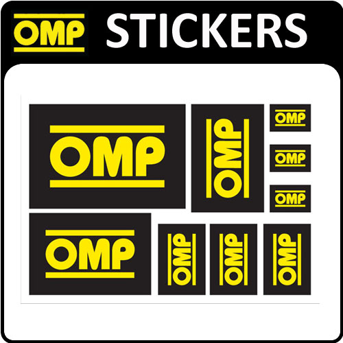 View Item X/889 OMP RACING RALLY FAN DECAL SHEET x 9 OMP STICKERS for MOTORSPORT RACE CAR!