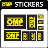 X/889 OMP RACING RALLY FAN DECAL SHEET x 9 OMP STICKERS for MOTORSPORT RACE CAR!