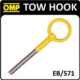 EB/571 OMP RACING YELLOW TOW HOOK 50mm STAINLESS STEEL PAINTED YELLOW