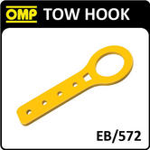 EB/572 OMP RACING FLAT ALUMINIUM TOW HOOK YELLOW for RACE/ROAD/TRACK/RALLY