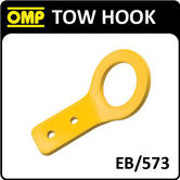 EB/573 OMP RACING ALUMINIUM ANGLED TOW HOOK YELLOW for RACE/ROAD/TRACK/RALLY