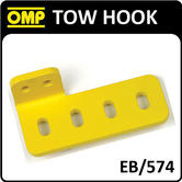 EB/574 OMP RACING ALUMINIUM 90° TOW HOOK YELLOW for RACE/ROAD/TRACK/RALLY