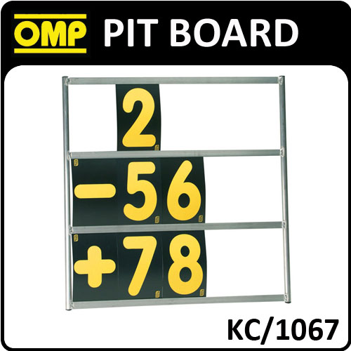 KC/1067 OMP ALUMINIUM PIT BOARD 72x72cm WITH 24 CARDS 23x14cm RACE/TRACK/KARTING
