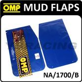 NA/1700/B OMP RACING RALLY MUD FLAPS 50x30mm in BLUE POLYETHYLENE 1.5mm 1 PAIR