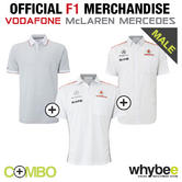 2013 McLAREN MERCEDES F1 TRIPLE SHIRT PACK! POLO SHIRT x 2 & 1 x TEAM SHIRT! NEW