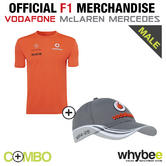 2013 VODAFONE McLAREN MERCEDES FORMULA 1 TEAM ROCKET RED T-SHIRT & TEAM CAP!