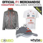 2013 McLAREN MERCEDES F1 LIGHTWEIGHT JACKET + SPONSOR T-SHIRT + TEAM CAP COMBO!