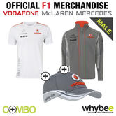 2013 McLAREN MERCEDES F1 SOFTSHELL JACKET + JENSON BUTTON T-SHIRT + FREE F1 CAP!