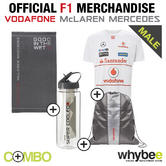 2013 McLAREN MERCEDES F1 SPORTS PACK! T-SHIRT + TOWEL + DRINKS FLASK + GYM BAG!