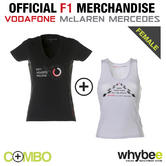 McLAREN MERCEDES F1 TEAM LADIES WOMENS HEARTS T-SHIRT & VEST TOP! SIZES XS TO XL