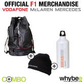 VODAFONE McLAREN MERCEDES OFFICIAL F1 TEAM RUCKSACK + DRINKS BOTTLE + BEANIE HAT