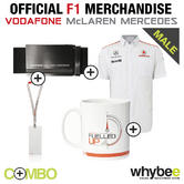 McLAREN MERCEDES F1 MENS WORK OFFICE PACK! SHIRT + LANYARD + BELT + COFFEE MUG!