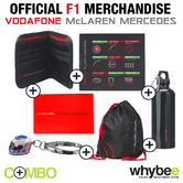 McLAREN MERCEDES F1 6 ITEM COMBO PACK! KEYRING WALLET FLAG BAG MOUSEMAT FLASK!
