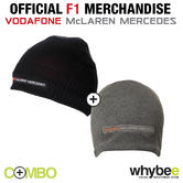 McLAREN MERCEDES F1 TEAM PAIR OF BEANIE HATS ADULT UNISEX GREY & BLACK!