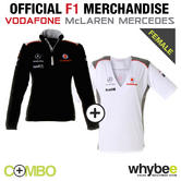 McLAREN MERCEDES F1 TEAM LADIES WOMENS T-SHIRT + SWEATSHIRT JUMPER ALL SIZES