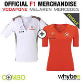 VODAFONE McLAREN MERCEDES LADIES WOMENS F1 TEAM T-SHIRT TWIN PACK WHITE & RED!
