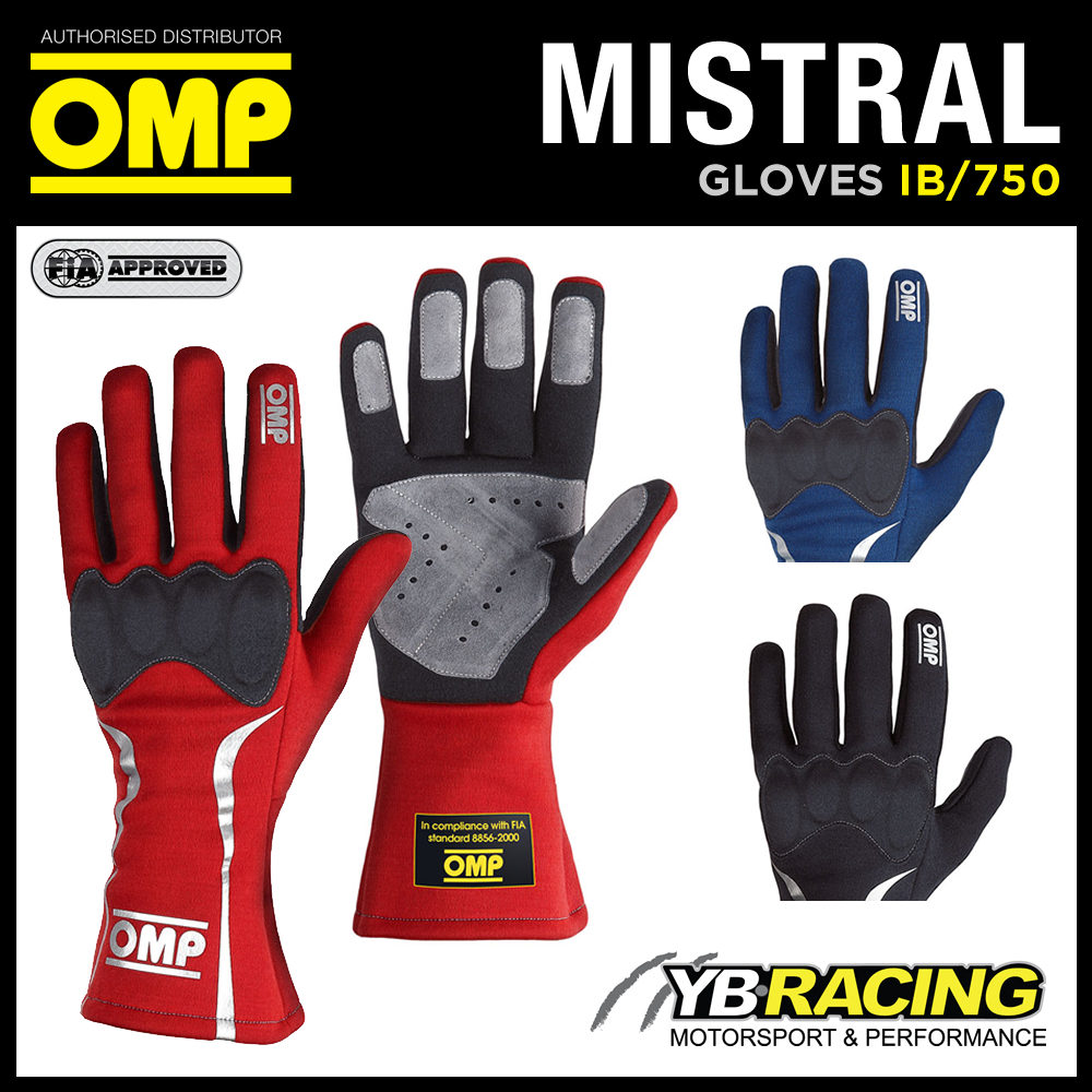 Omp Sport Gloves: IB/750 OMP MISTRAL RACING RALLY GLOVES FIREPROOF FIA