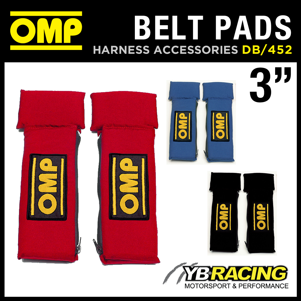 """SALE! DB/452 OMP RACING NOMEX HARNESS PADS 3"""" (PAIR) SEAT BELT FIREPROOF FABRIC"""