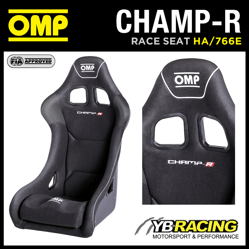 "HA/766E OMP ""CHAMP-R"" RACE SEAT GEL COATED FIBREGLASS RACE RALLY VELOUR BLACK"