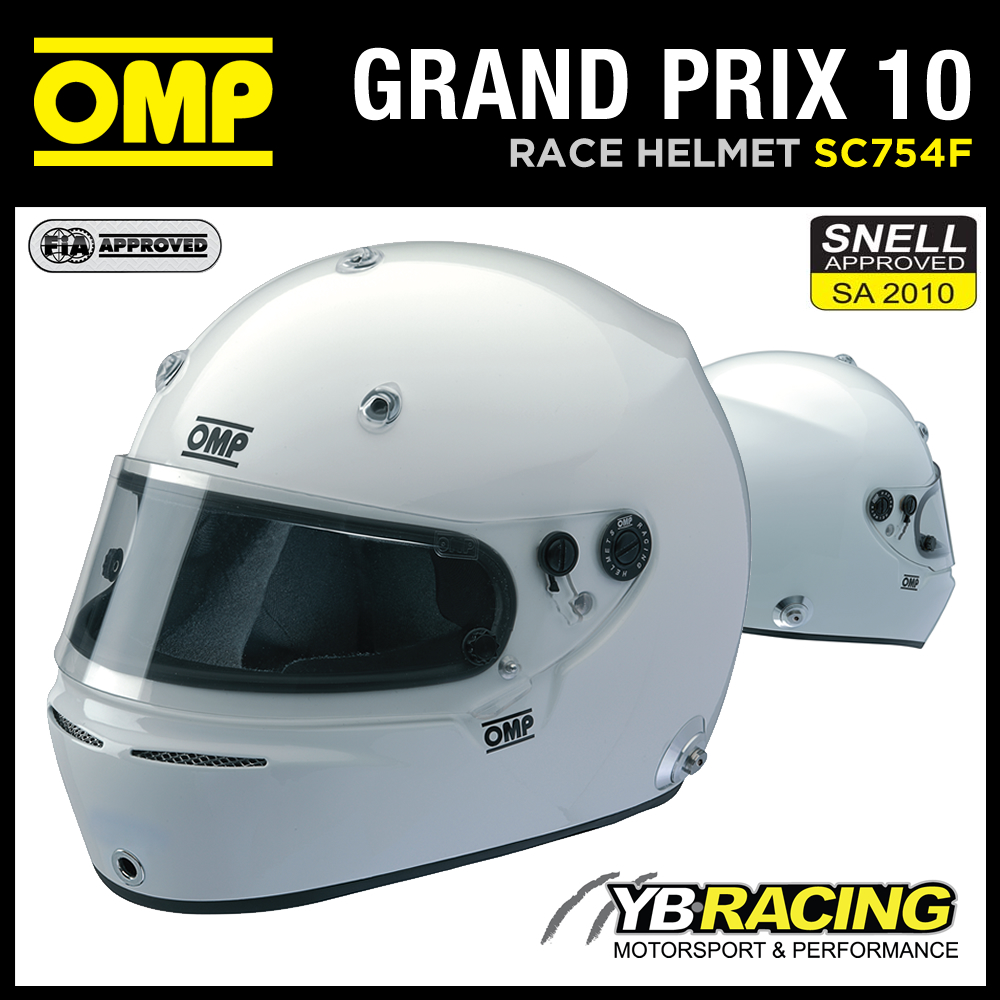 SC754F OMP GRAND PRIX 10 FULL FACE PROFESSIONAL RACING HELMET SNELL / FIA XS-XL