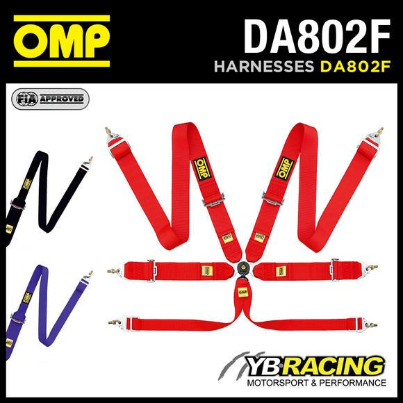 View Item DA802F OMP 802F MOTORSPORT HARNESS BELTS 6-POINT HANS with STEEL SNAP HOOKS