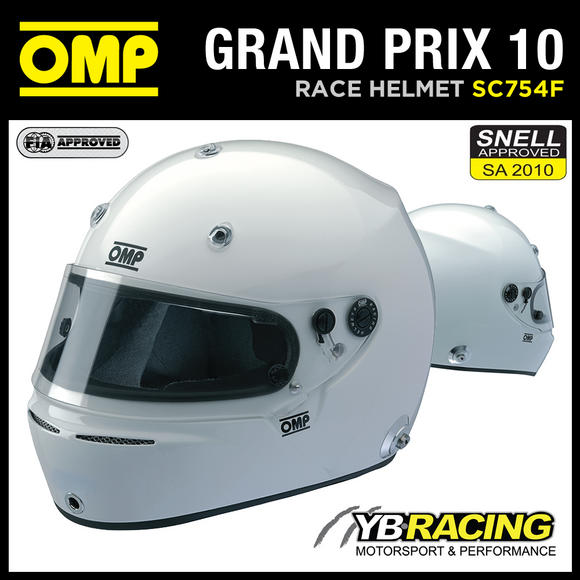 View Item SC754F OMP GRAND PRIX 10 FULL FACE PROFESSIONAL RACING HELMET SNELL / FIA XS-XL