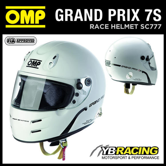 View Item NEW! SC777 OMP GP 7S HELMET FULL FACE FORMULA STYLE / HANS CLIPS / FIA / SNELL