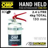 CBB/351 OMP HAND HELD ALUMINIUM FIRE EXTINGUISHER 2.4 LITRES 4kg WHITE COLOUR