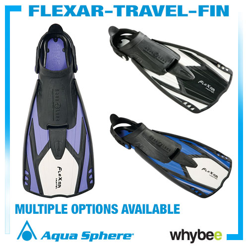 Sale! Aquasphere Flexar Travel Fins Aqua Lung Flippers Swimming Diving Snorkel Preview