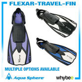 Sale! Aquasphere Flexar Travel Fins Aqua Lung Flippers Swimming Diving Snorkel