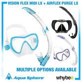 New! Aquasphere Snorkelling Set Vision Flex Midi Lx + Airflex Purge Lx Aqua Lung