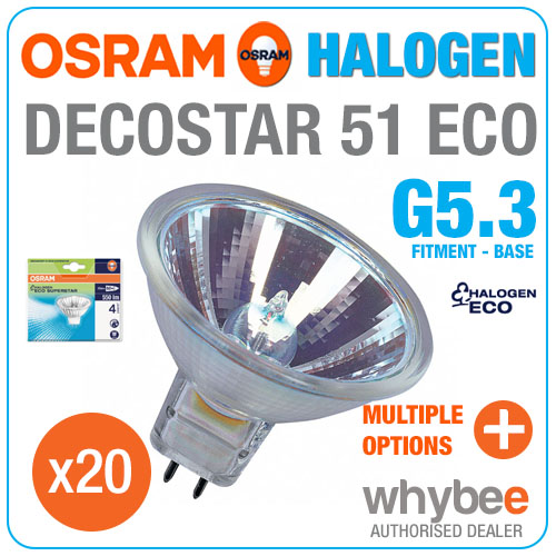 20 x osram decostar 51 eco halogen 3000k warm white gu5 3 base spot light bulbs. Black Bedroom Furniture Sets. Home Design Ideas