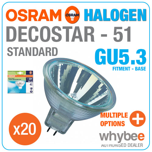 20 x osram decostar 51 standard halogen gu5 3 mr16 warm white spot light bulbs. Black Bedroom Furniture Sets. Home Design Ideas