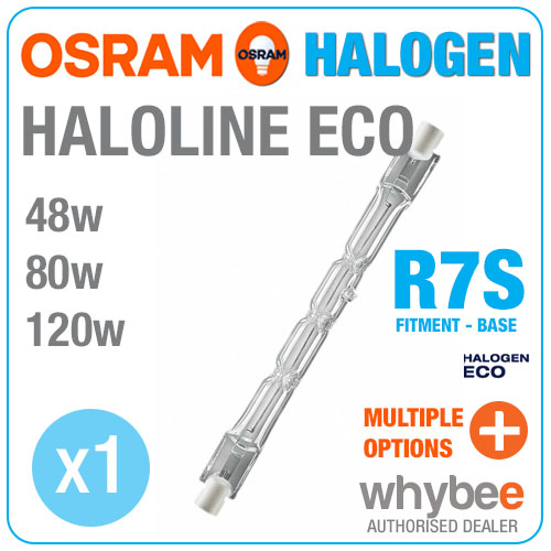new osram haloline eco halogen r7s bulbs 48w 80w 120w 2950k warm white light ebay. Black Bedroom Furniture Sets. Home Design Ideas