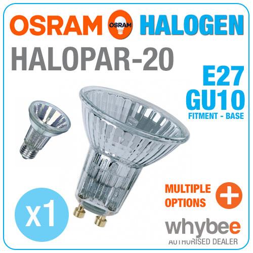 new osram halopar 20 halogen bulbs e27 screw gu10 spot light base warm white ebay. Black Bedroom Furniture Sets. Home Design Ideas