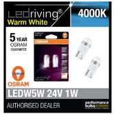 Osram 24V LED 4000K Warm White W5W (507) Wedge 1W 24V Bulbs Retrofit 2824WW-02B