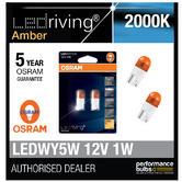 Osram LED 2000K Orange Amber WY5W (501) Wedge 12V 1W Indicator Bulbs 2855YE-02B