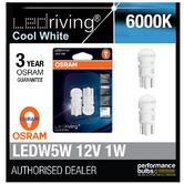 New! Osram LED 6000K Cool White W5W (501) Wedge 12V 1W Bulbs Retrofit 2880CW-02B