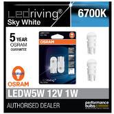 New! Osram LED 6700K Sky White W5W (501) Wedge 12V 1W Bulbs Retrofit 2880SW-02B
