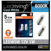 Osram LED 6000K Cool White T4W (233) 12V 1W Led Bulbs Long Life 3850CW-02B BA9s