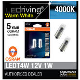Osram LED 4000K Warm White T4W (233) 12V 1W Led Bulbs Long Life 3850WW-02B BA9s